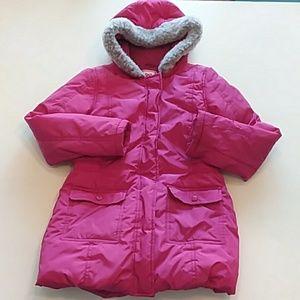 Gymboree pink puffer coat hood fau fur large 10/12